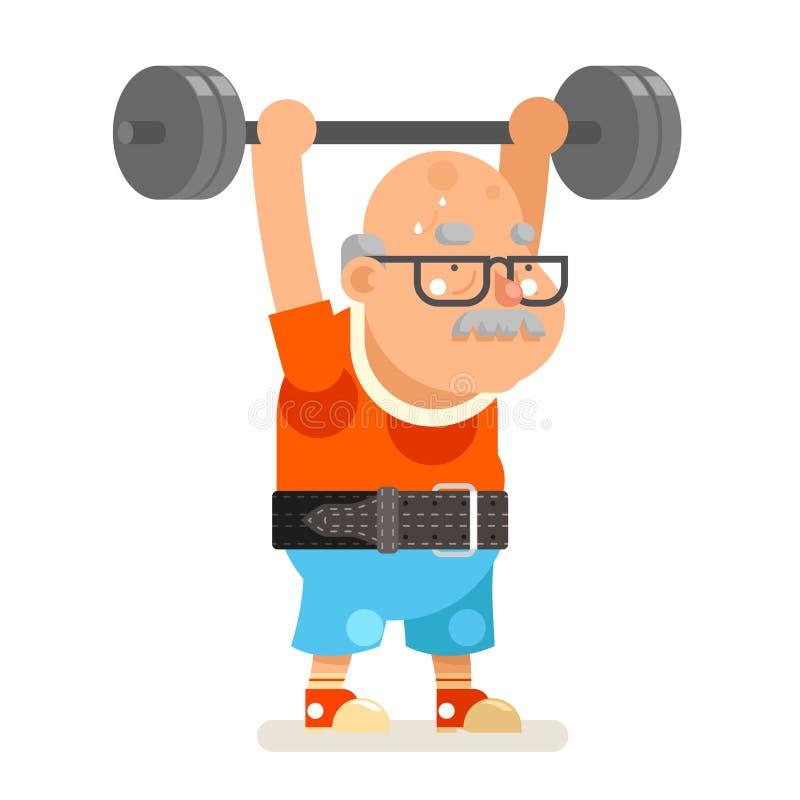 Illustrazione piana di vettore di progettazione di attività di forma fisica di Powerlifting di vecchiaia dell'uomo del fumetto ad royalty illustrazione gratis