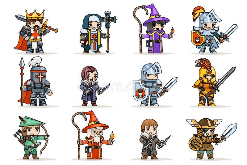 Illustrazione piana di vettore di progettazione delle icone di vettore del carattere di eroi del gioco di rpg dell'insieme di fan illustrazione di stock