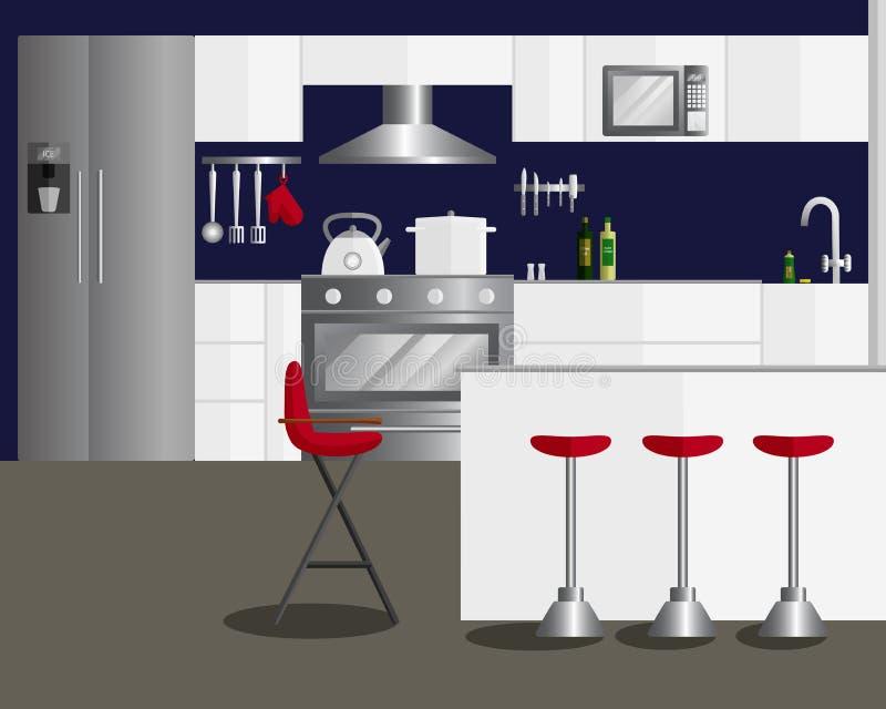 Illustrazione piana di vettore di progettazione per la cucina royalty illustrazione gratis
