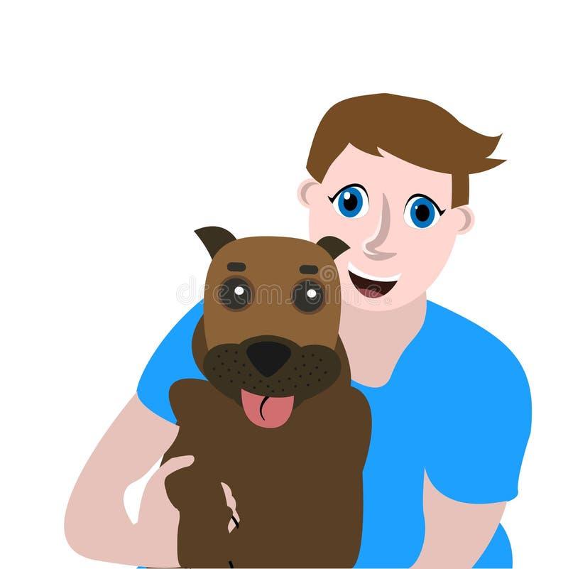 Illustrazione piana di vettore, ritratto allegro di un tipo con un cane illustrazione di stock
