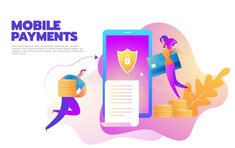 Illustrazione piana di vettore di stile di progettazione dello smartphone moderno con l'elaborazione dei pagamenti mobili dalla c illustrazione di stock