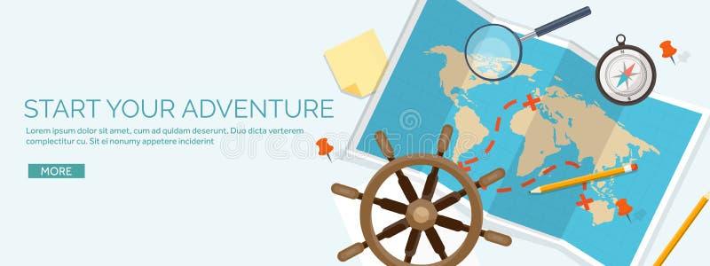 Illustrazione piana di vettore di stile di turismo e di viaggio Mappa e globo della terra del mondo Viaggio di giro di viaggio, v royalty illustrazione gratis