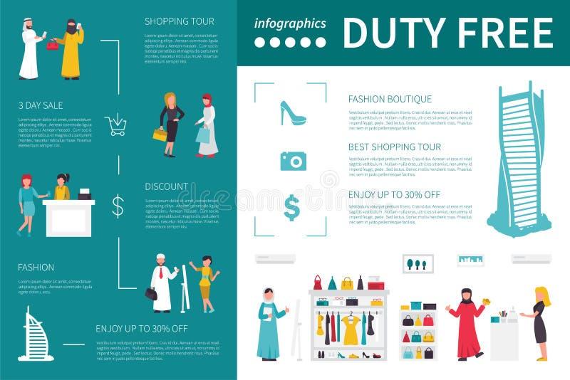 Illustrazione piana infographic esente da dazio di vettore Concetto di presentazione illustrazione di stock