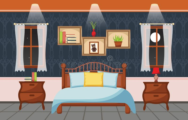 Illustrazione piana interna di progettazione della stanza di sonno della camera da letto royalty illustrazione gratis