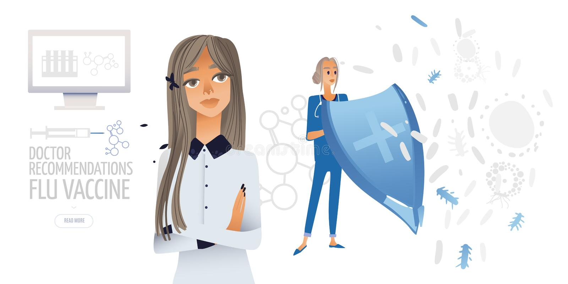 Illustrazione piana isolata vettore - le giovani donne madre e medico con uno schermo pensano al vaccino per il suo bambino illustrazione di stock