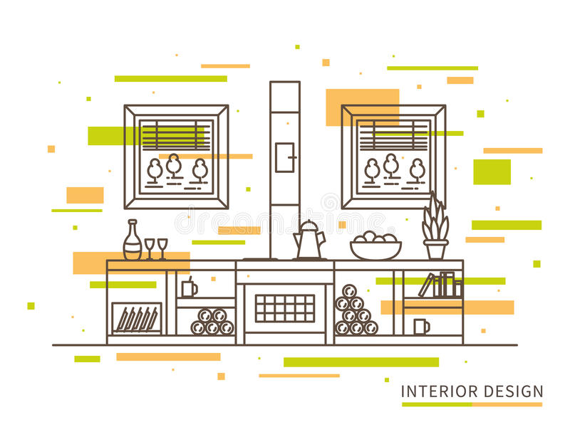 Illustrazione piana lineare di interior design della casa moderna della campagna del progettista illustrazione vettoriale