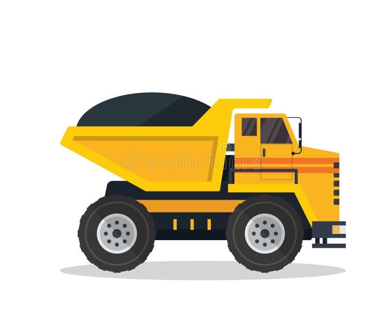 Illustrazione piana moderna del veicolo della costruzione dell'autocarro con cassone ribaltabile illustrazione vettoriale