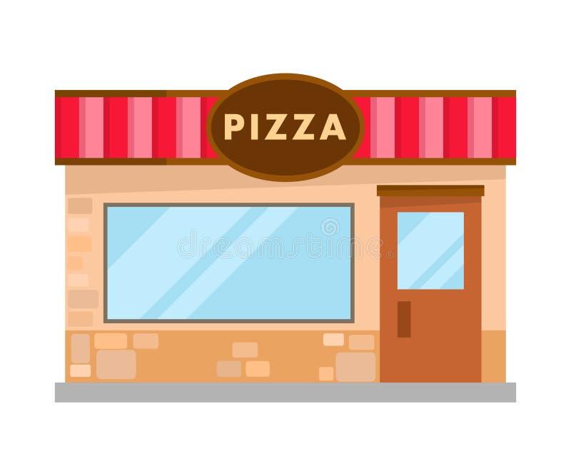 Illustrazione piana moderna della costruzione di mattoni della pizzeria illustrazione vettoriale