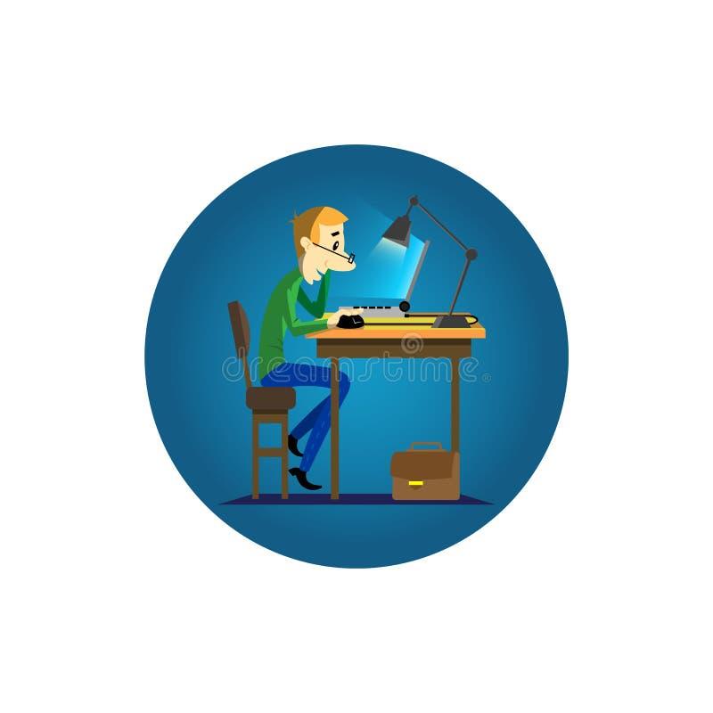 Illustrazione piana rotonda di arte di un personaggio dei cartoni animati nella sera che si siede al computer portatile illustrazione vettoriale