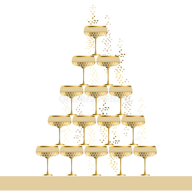 Illustrazione piana scintillante di vettore della piramide di vetro del champagne dell'oro illustrazione di stock