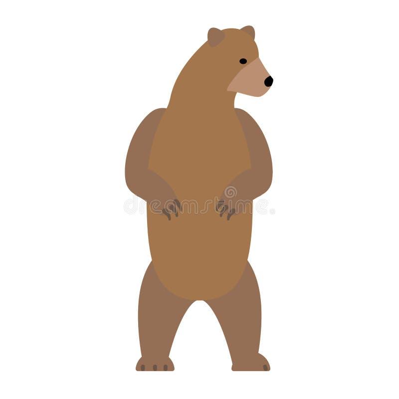 Illustrazione piana stante dell'orso su bianco illustrazione di stock