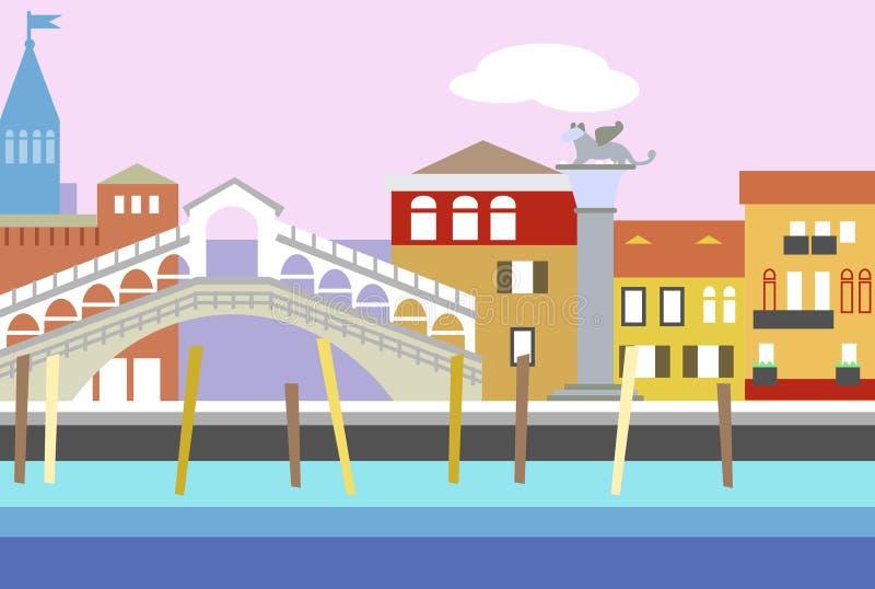 Illustrazione piana variopinta di vettore di stile della città di Venezia Paesaggio urbano con l'argine e le costruzioni Composiz royalty illustrazione gratis