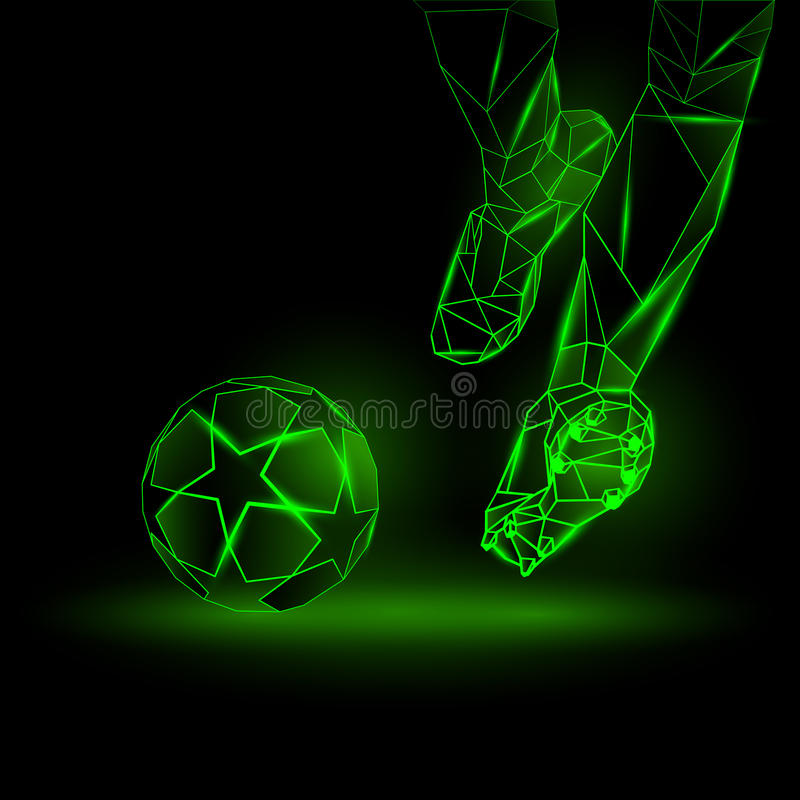 Illustrazione poligonale di calcio iniziale di calcio Il calciatore colpisce la palla illustrazione vettoriale