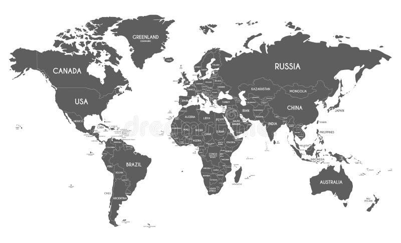 Illustrazione politica di vettore della mappa di mondo isolata su fondo bianco illustrazione di stock