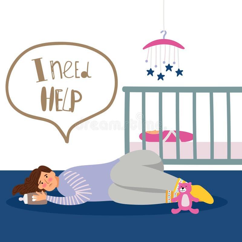 Illustrazione postnatale di depressione royalty illustrazione gratis
