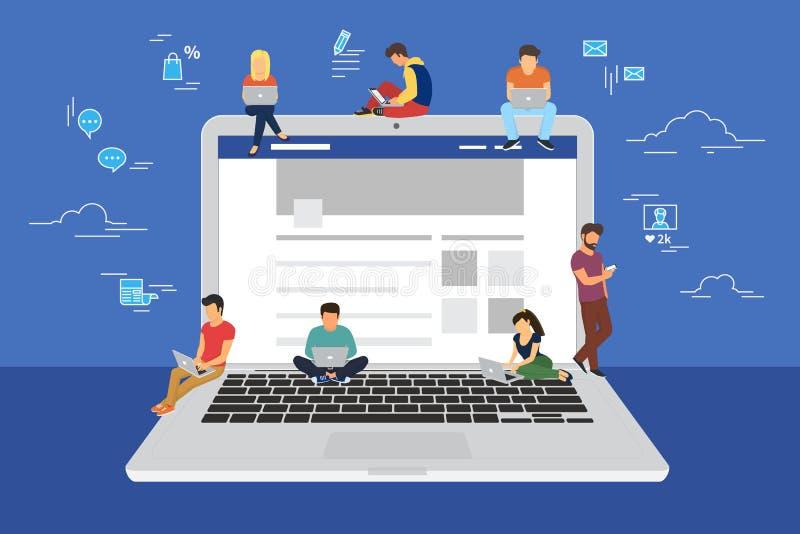 Illustrazione praticante il surfing di concetto del sito Web della rete sociale illustrazione vettoriale