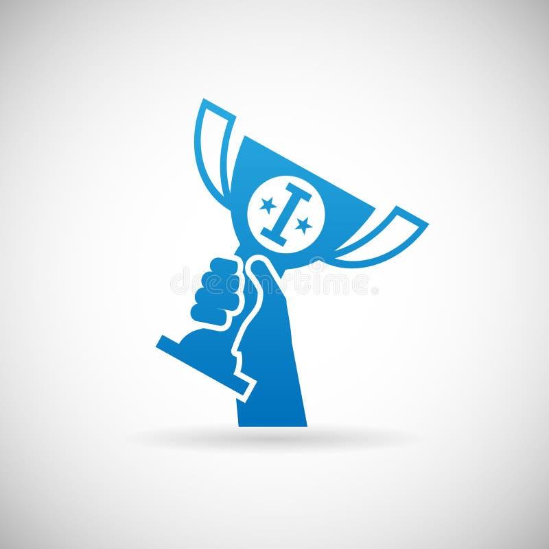 Illustrazione premiata di vettore del modello di progettazione dell'icona della tazza del premio di aumenti della mano di simbolo illustrazione di stock