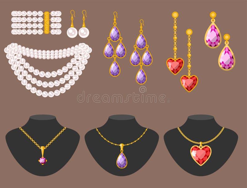 Illustrazione preziosa minuscola fine di lusso di vettore dei gioielli dell'oro dei gioielli del diamante dorato tradizionale dei illustrazione vettoriale
