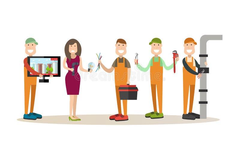 Illustrazione professionale di vettore dei lavoratori nello stile piano illustrazione di stock