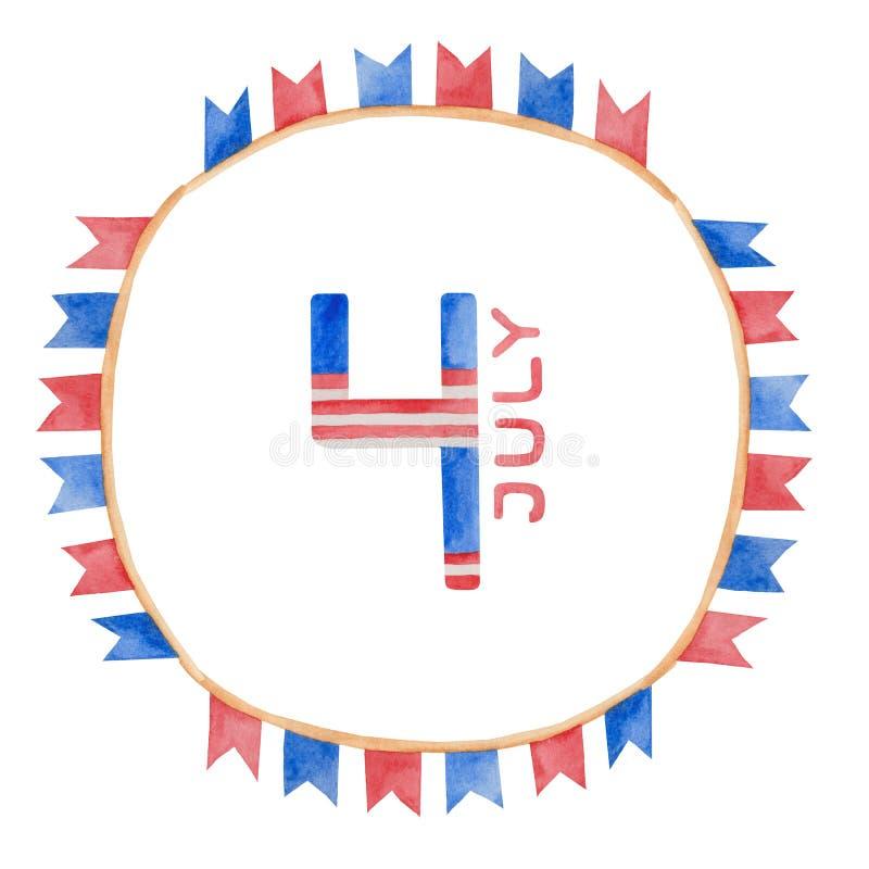 Illustrazione quarta dell'acquerello della festa dell'indipendenza di luglio in U.S.A. royalty illustrazione gratis