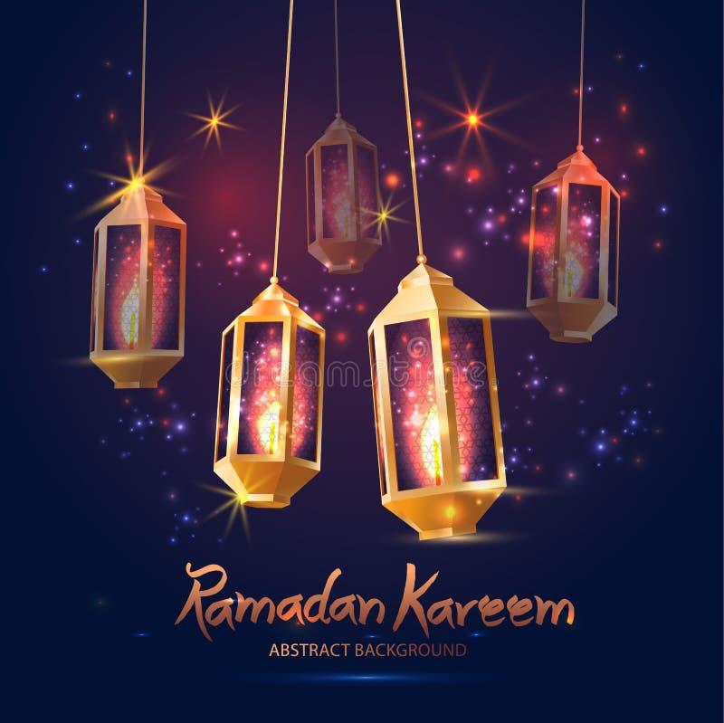 Illustrazione Ramadan Kareem Background con 3d le lampade Fanoos, illustrazione di stock