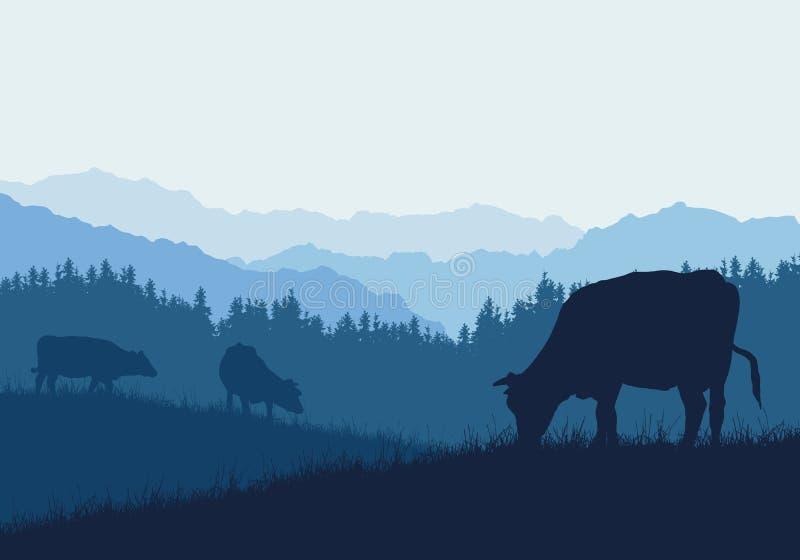 Illustrazione realistica con tre siluette delle mucche sul pascolo, dell'erba e della foresta, sotto cielo blu, vettore illustrazione vettoriale