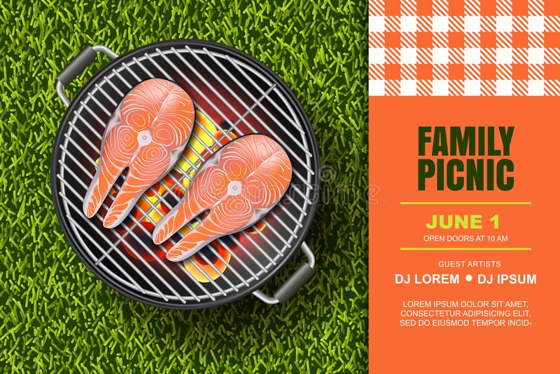 Illustrazione realistica 3d di vettore di bistecca di color salmone rossa sulla griglia calda del barbecue Picnic del Bbq, insegn illustrazione vettoriale
