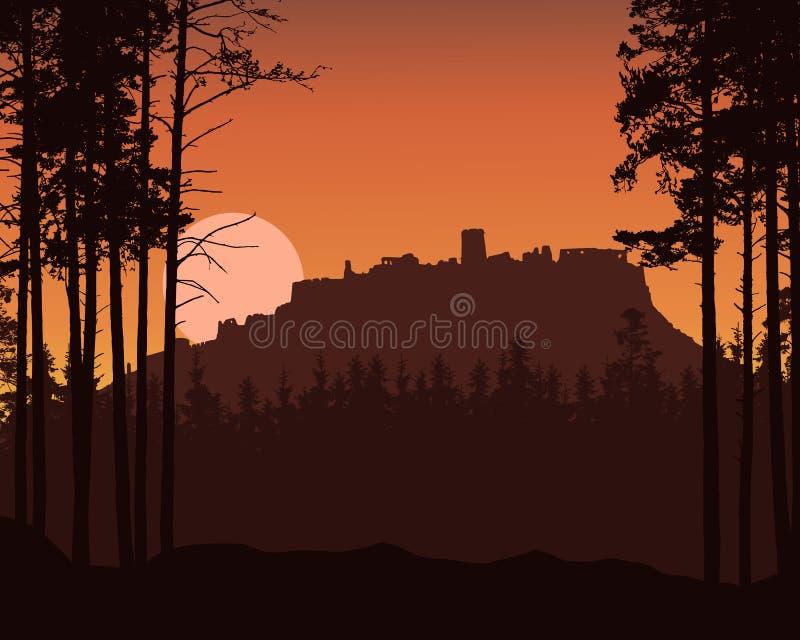 Illustrazione realistica del paesaggio della montagna con la foresta di conifere e rovine di vecchio castello sulla collina Aumen illustrazione di stock
