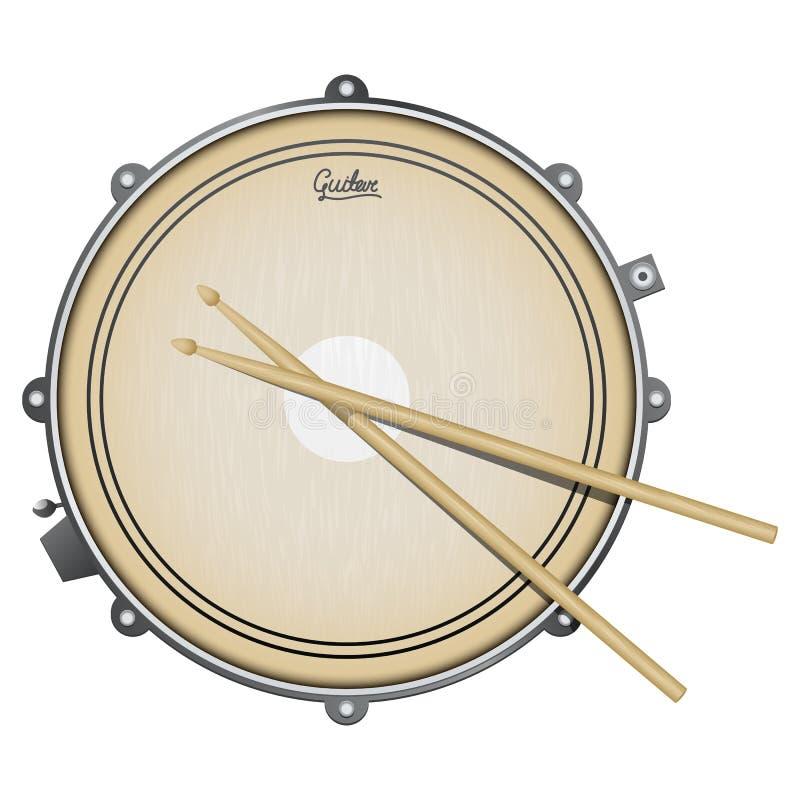 Illustrazione realistica del rullante con lo strumento di percussione isolato su bianco illustrazione di stock