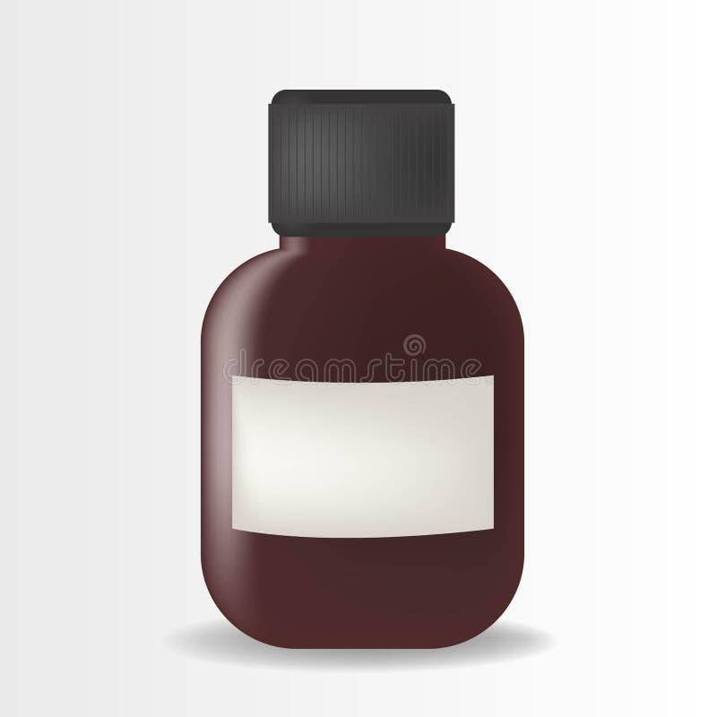 Illustrazione realistica della bottiglia di vetro con la miscela isolata su fondo illustrazione di stock