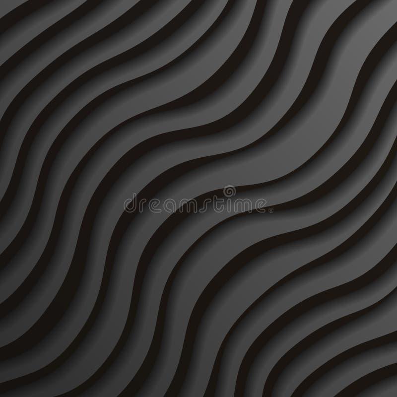 Illustrazione realistica di carta nera di vettore del fondo di progettazione del modello delle onde 3d royalty illustrazione gratis