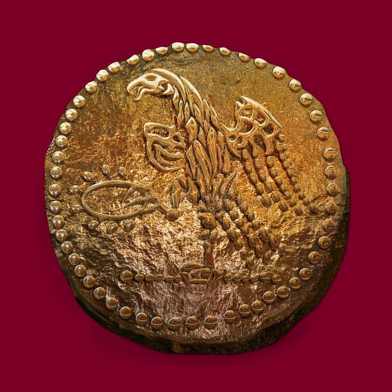 Illustrazione realistica di Digital della moneta di oro antica di Dacian Koson immagini stock