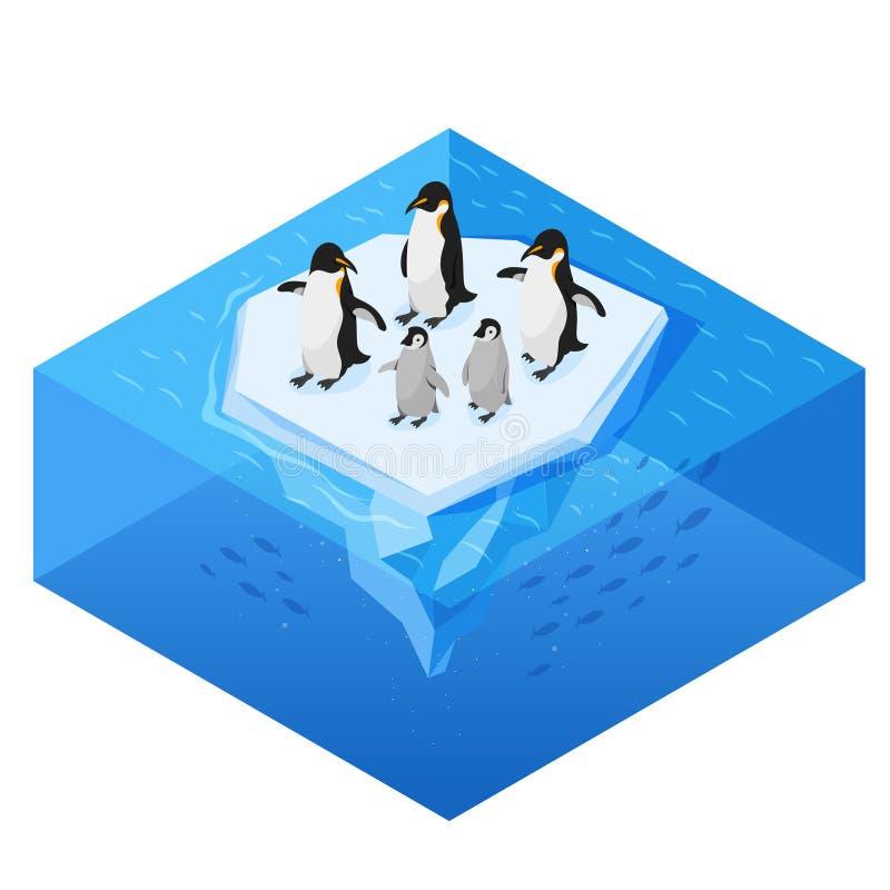 Illustrazione realistica di stile di vettore isometrico 3d dei pinguini sul ghiacciaio royalty illustrazione gratis