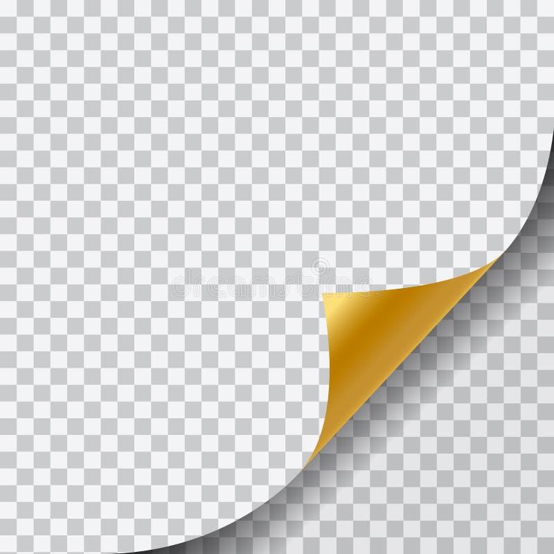 Illustrazione realistica di una pagina in bianco dell'oro con l'angolo arricciato e di un'ombra su fondo trasparente - vettore illustrazione vettoriale