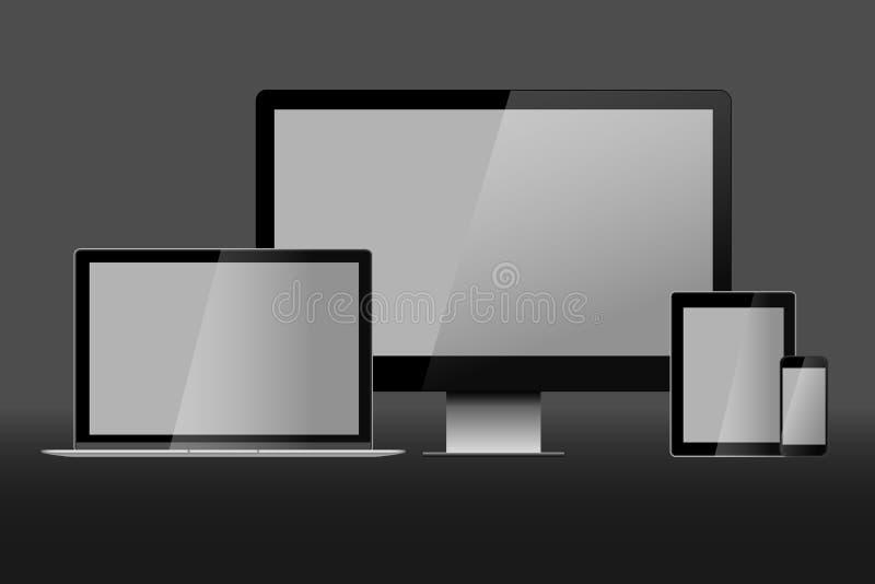 Illustrazione realistica di vettore del computer portatile, del desktop computer, della compressa e dello Smart Phone illustrazione di stock