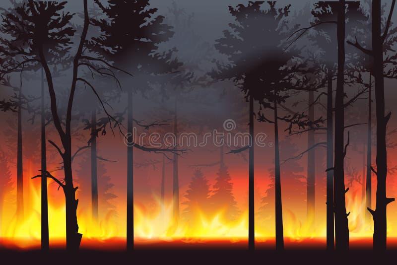 Illustrazione realistica di vettore del paesaggio di disastro dell'incendio forestale di incendio violento della siluetta illustrazione vettoriale