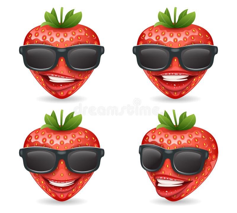 Illustrazione realistica di vettore del personaggio dei cartoni animati della fragola di progettazione della frutta degli occhial illustrazione di stock