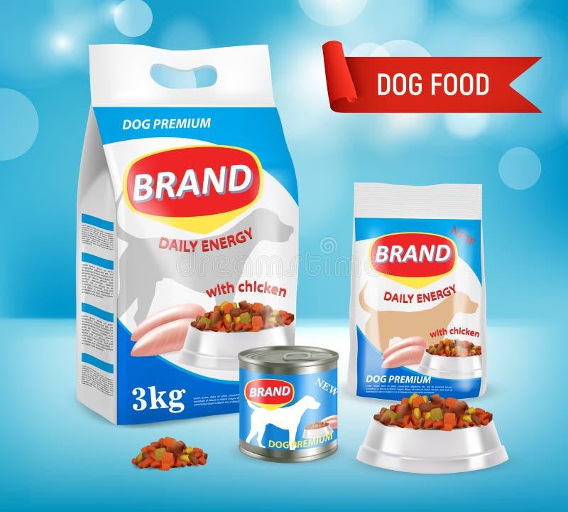 Illustrazione realistica di vettore dell'annuncio di marca del cibo per cani illustrazione di stock