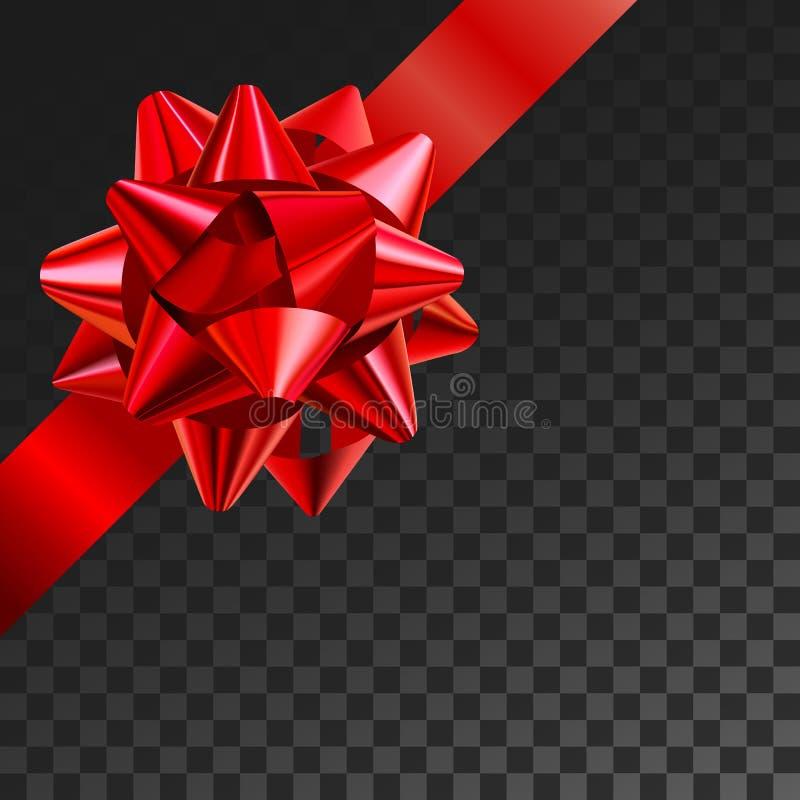 Illustrazione realistica di vettore dell'arco del regalo sulla griglia della trasparenza Decorazione rossa della scatola del pres illustrazione di stock