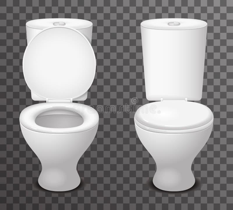 Illustrazione realistica di vettore di progettazione dell'icona aperto-chiuso ceramica 3d del sedile della toilette illustrazione di stock