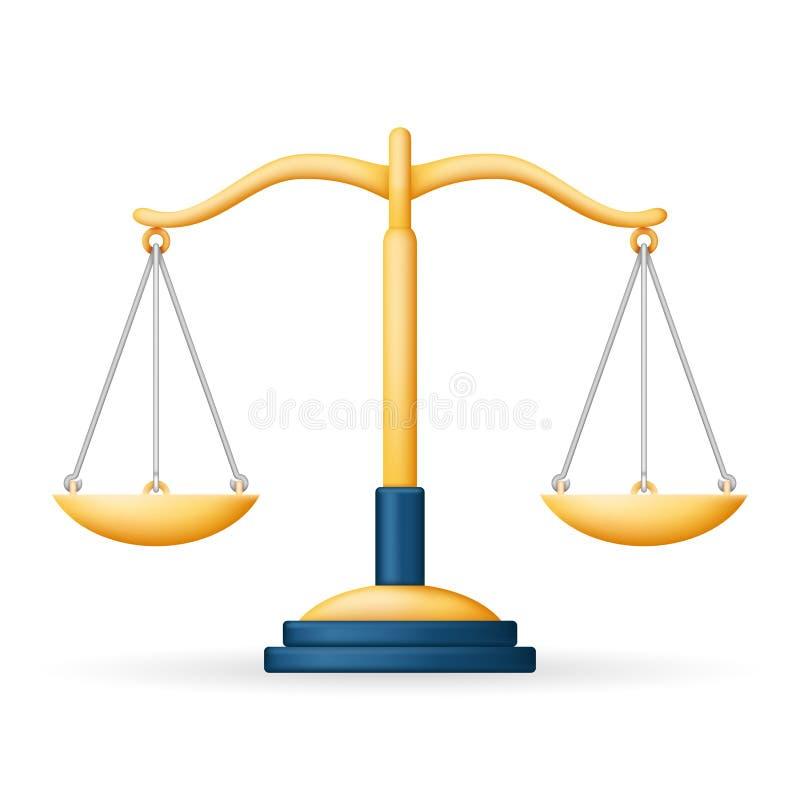 Illustrazione realistica di vettore di progettazione dell'icona 3d di simbolo di Scales Law Balance della giustizia illustrazione vettoriale