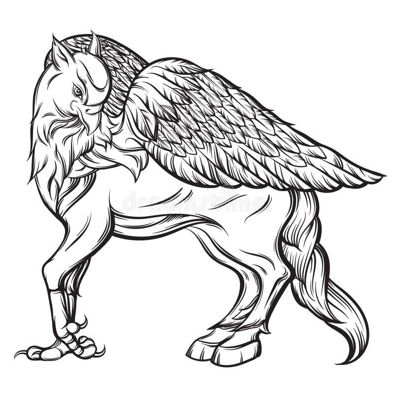 Illustrazione realistica disegnata a mano di vettore di hipogriff illustrazione di stock
