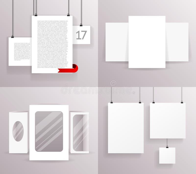 Illustrazione realistica installata di vettore di progettazione del modello dell'icona del manifesto del testo della carta delle  illustrazione vettoriale
