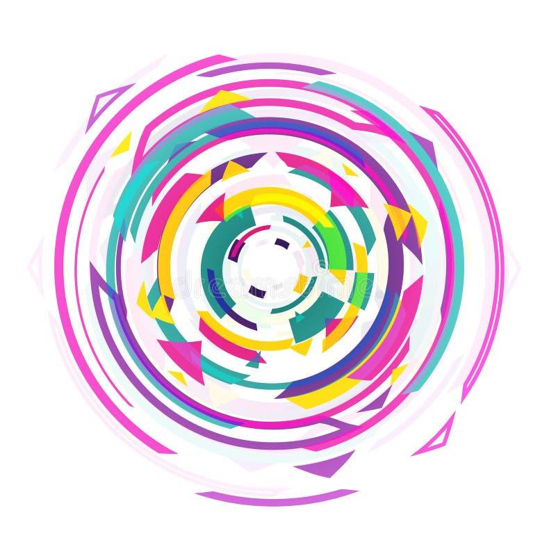 Illustrazione retro di filatura variopinta geometrica di vettore del fondo del mulinello di progettazione astratta royalty illustrazione gratis