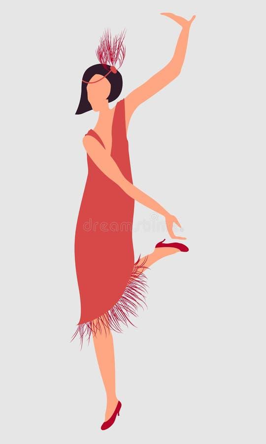 Ragazza Di Dancing Red-haired Illustrazione Vettoriale ...