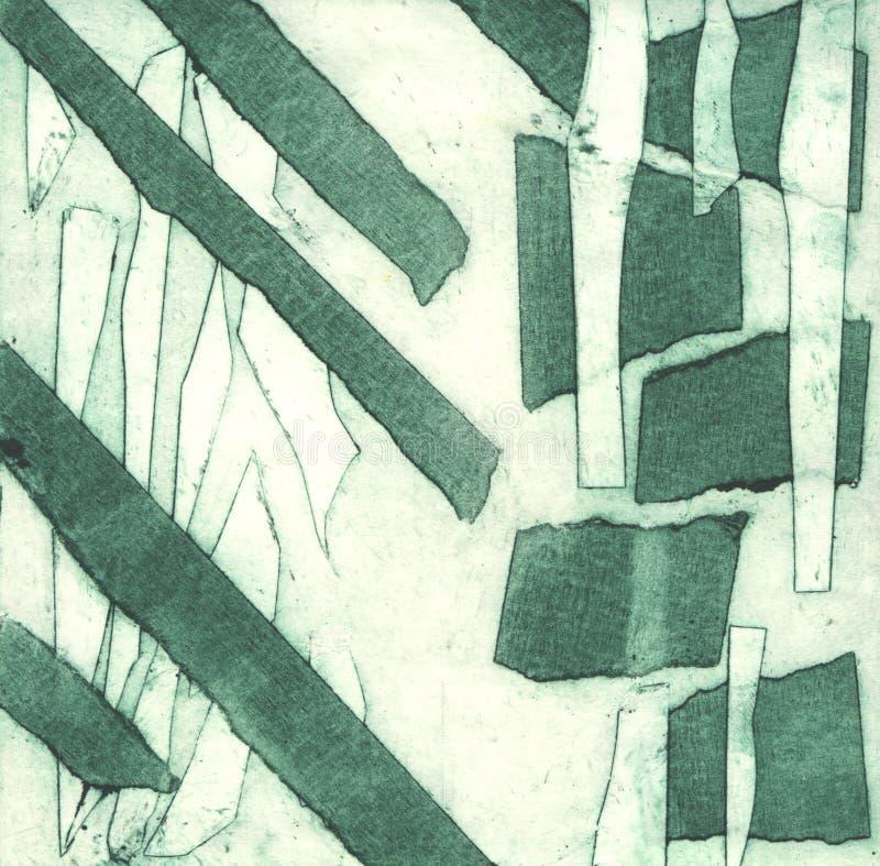 Illustrazione in rilievo che stampa tecnica classica, fatta con aiuto del nastro di condotta illustrazione di stock
