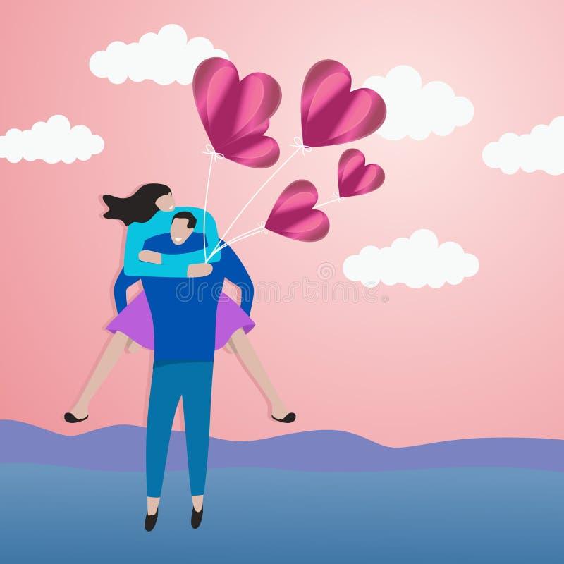 Illustrazione romantica di vettore delle coppie con stile tagliato di carta di arte Valentine' giovanile moderno elegante; pr illustrazione vettoriale
