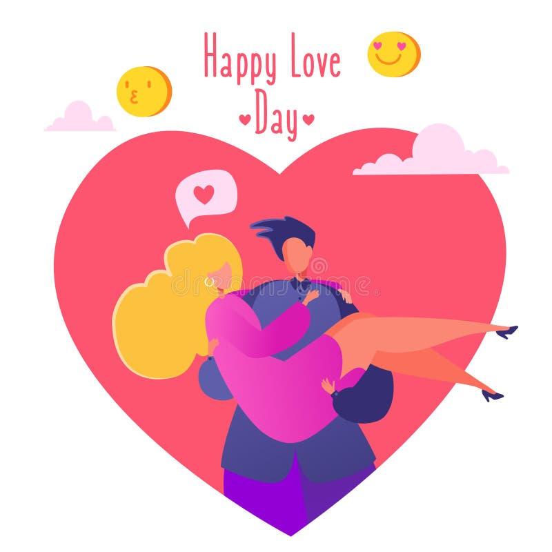 Illustrazione romantica di vettore sul tema di storia di amore La coppia nell'amore, uomo che tiene la sua amica cara in suoi bra illustrazione vettoriale