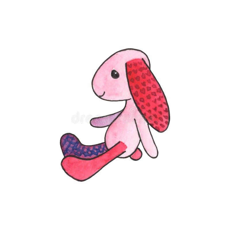 Illustrazione rosa dell'acquerello del coniglio di tilda Icona disegnata a mano del giocattolo molle del coniglio illustrazione di stock