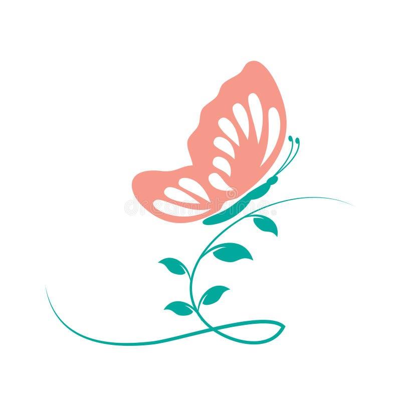 Illustrazione rosa di vettore della farfalla sulle foglie illustrazione di stock